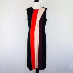 Halogen Dress Size 12 Midi Color Block